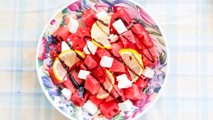salad with watermelon, feta cheese, lemon