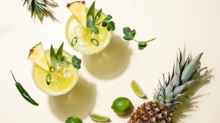 Pineapple jalapeno margarita alcoholic cocktail in