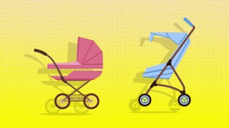 Blue and pink baby carriages