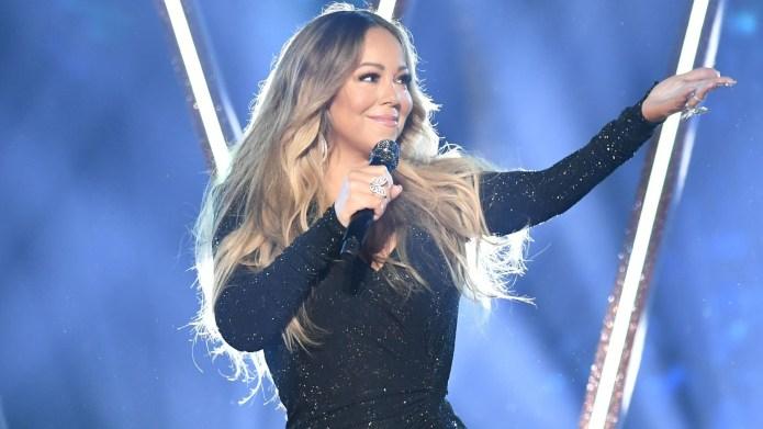 Mariah Carey performing at the Billboard