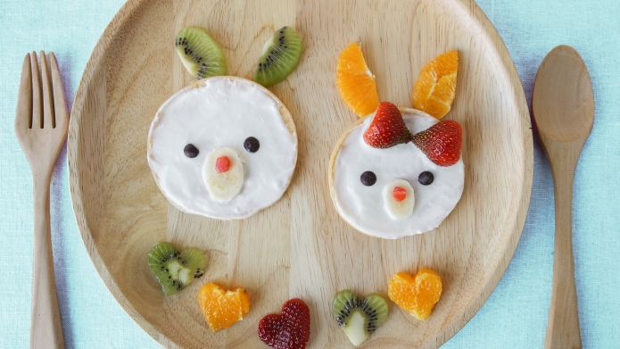 Bunny pancake breakfast, fun food art