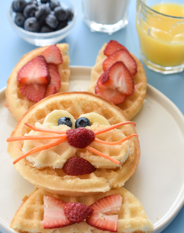 Easter Bunny waffles.