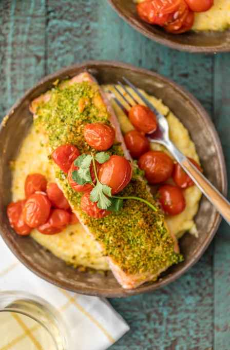 Herb-Crusted Salmon With Goat Cheese Polenta