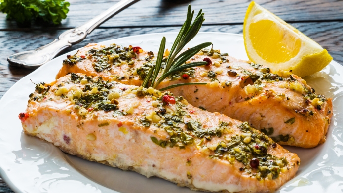 Salmon roasted in an oven with