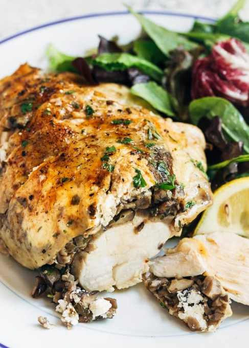 Stuffed Chicken Breasts With Mushrooms & Goat Cheese