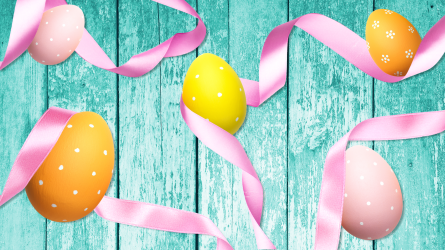 Easter eggs and ribbons
