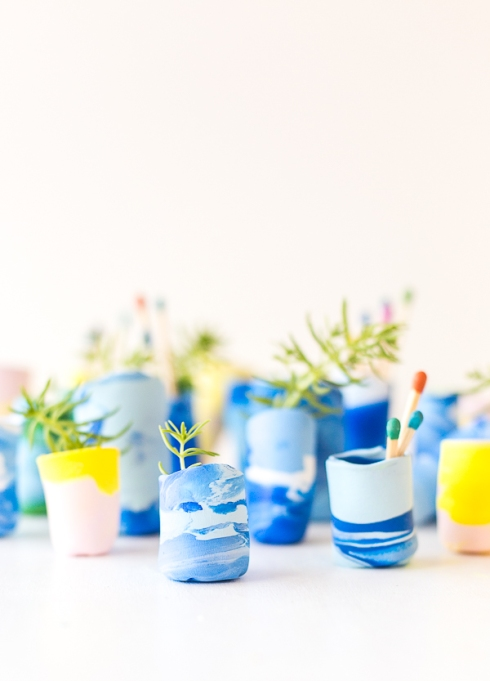 Marbled Mini-Planter Vases