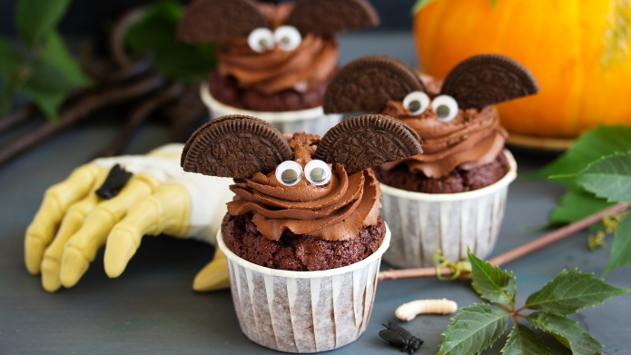 Chocolate muffins, with a chocolate cream