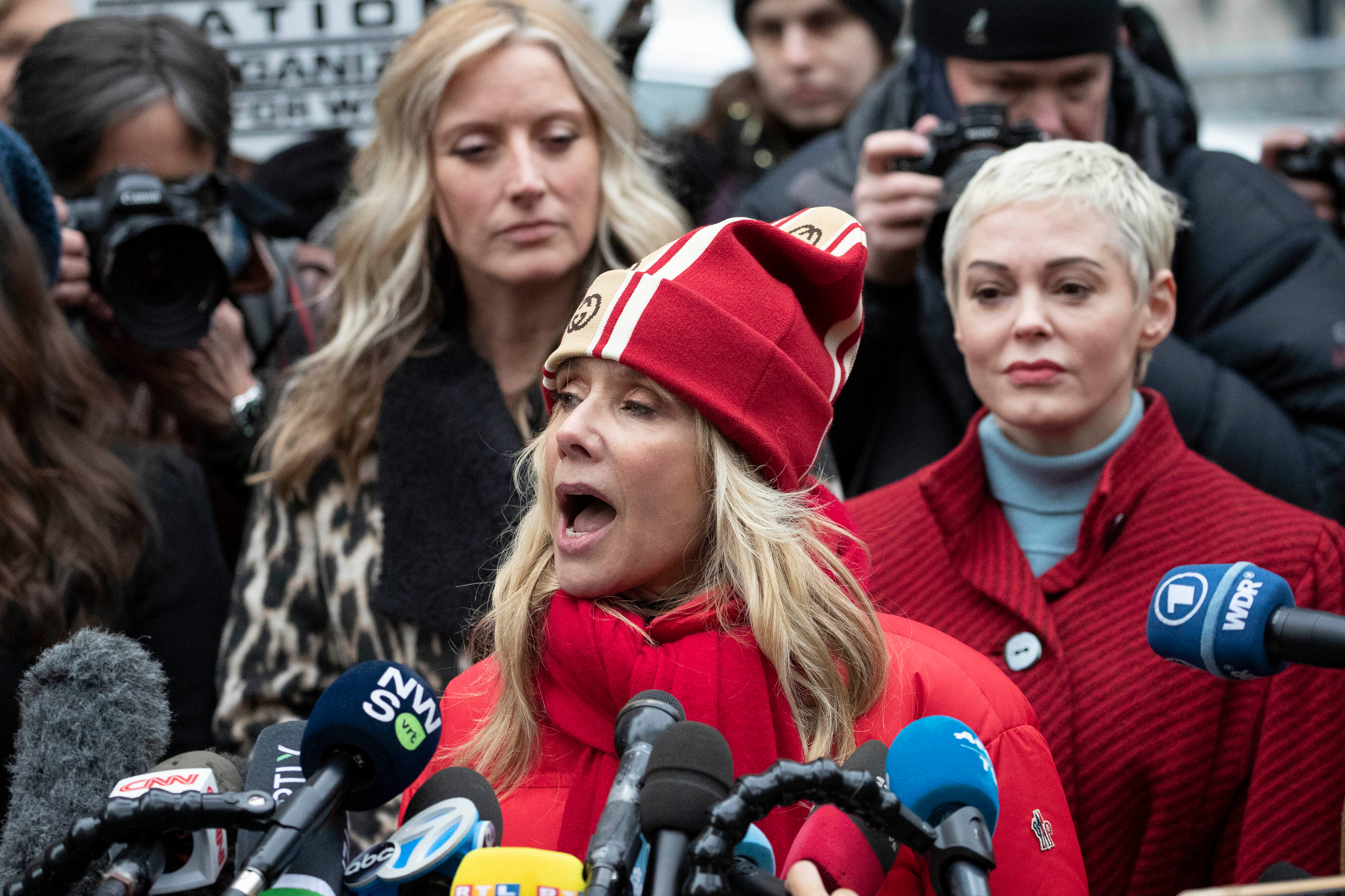 Actor Rosanna Arquette speaks at a news conference outside a Manhattan courthouse after the arrival of Harvey Weinstein, in New York. Weinstein is on trial on charges of rape and sexual assault, more than two years after a torrent of women began accusing him of misconductSexual Misconduct Weinstein, New York, USA - 06 Jan 2020