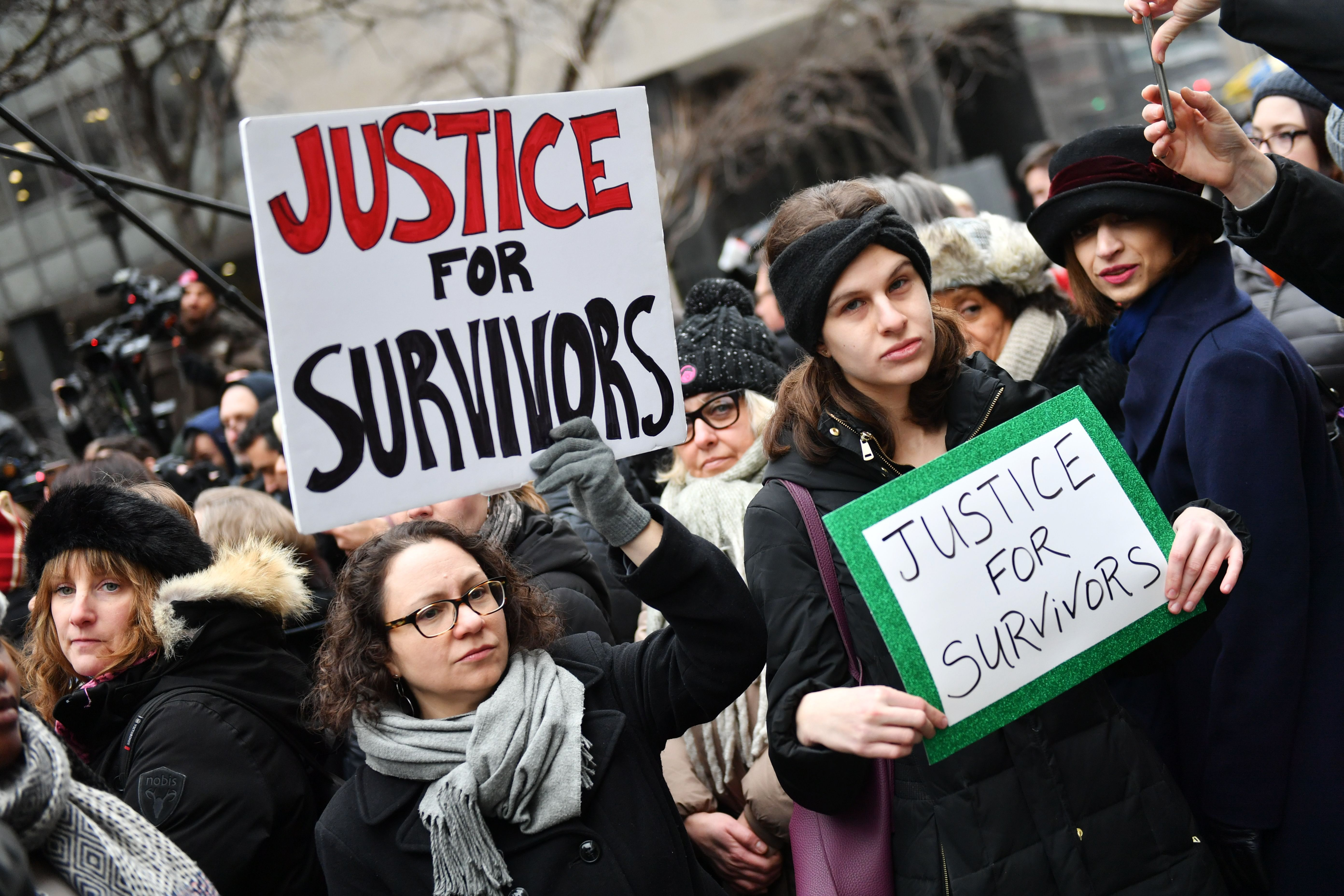 Protesters outside the Criminal Court in New York.Harvey Weinstein court hearing, New York, USA - 06 Jan 2020