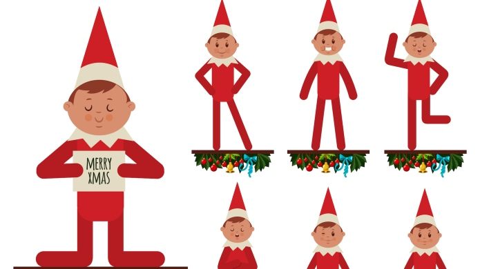 Christmas elf vector cartoon flat character