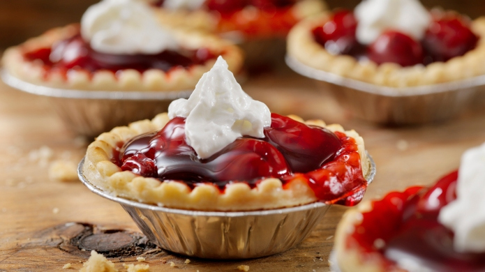 Cherry Tarts with Whip Cream