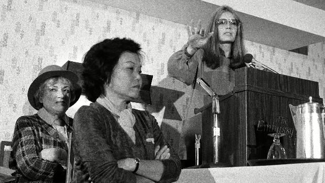 Patsy Mink and Gloria Steinem at Feminism NOW meeting