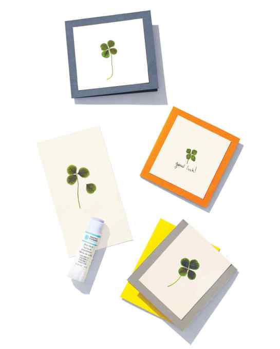 14 St. Patrick's Day Family Crafts To Bring Your Home a Bit of Luck: Pressed Clover Card
