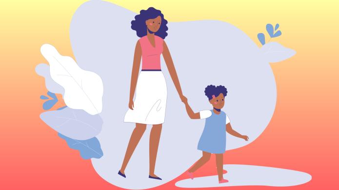 black mom and child walking