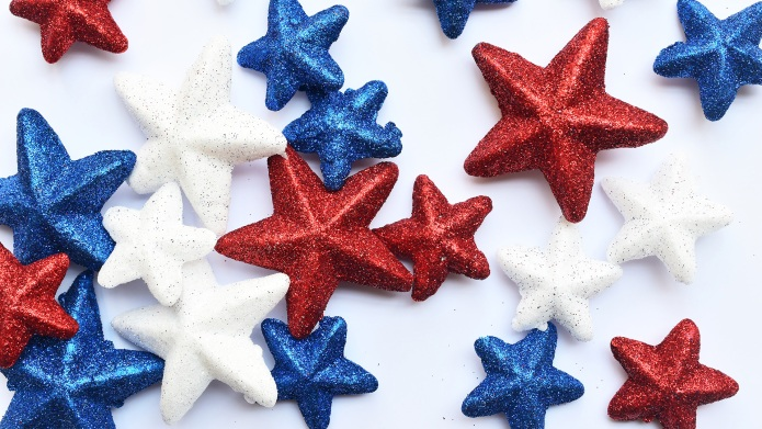 Red white and blue stars on