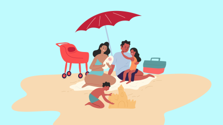family kids beach summer