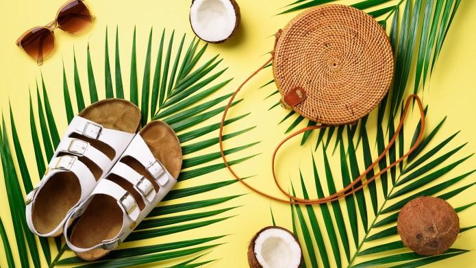 Round rattan bag, coconut, birkenstocks, palm