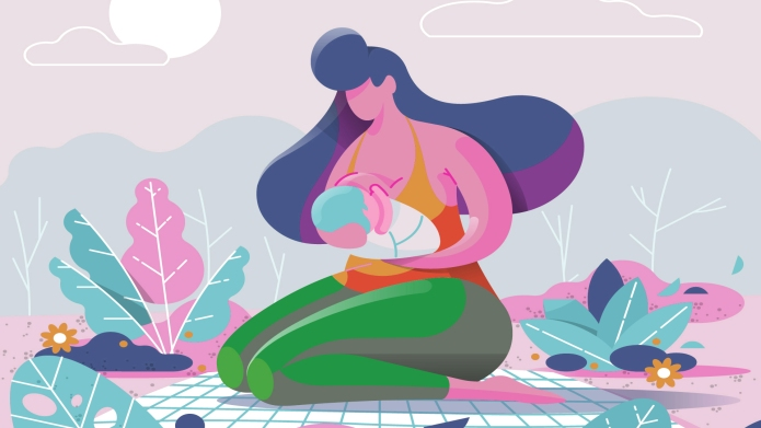 colorful illustration woman breastfeeding