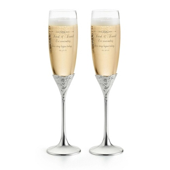 Personalized Vera Wang champagne flutes