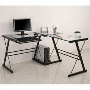 Glass and Metal Corner Computer Desk