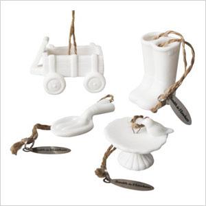 White garden tools