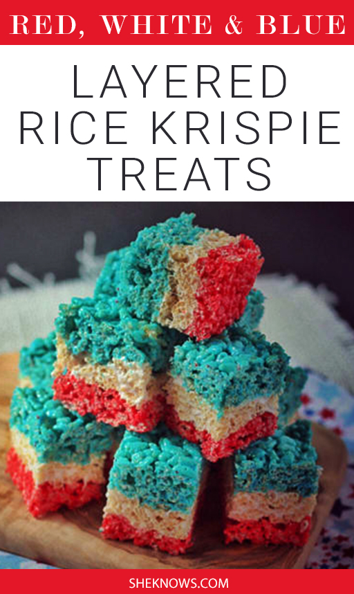 Pint it! Red, White & Blue Layered Rice Krispies Treats
