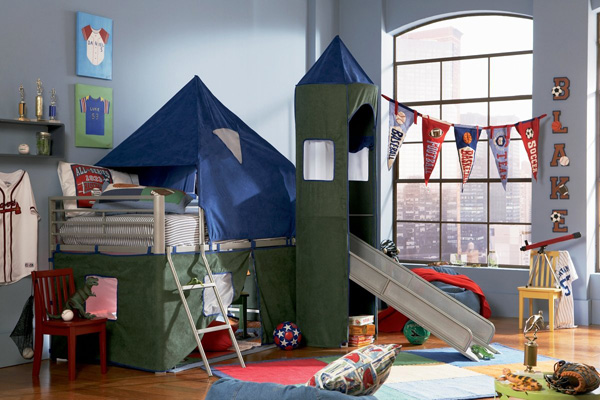 Tent bunk bed with slide