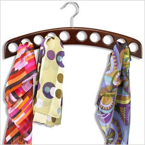 Walnut scarf rack