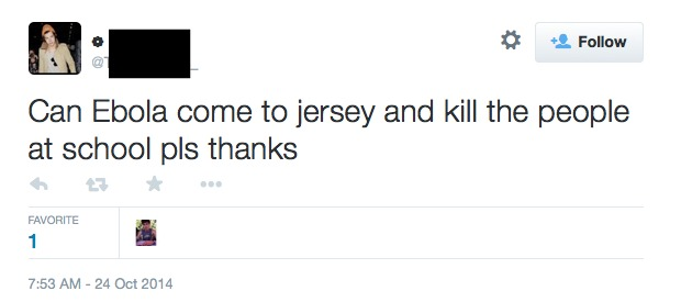 Ebola come to Jersey tweet