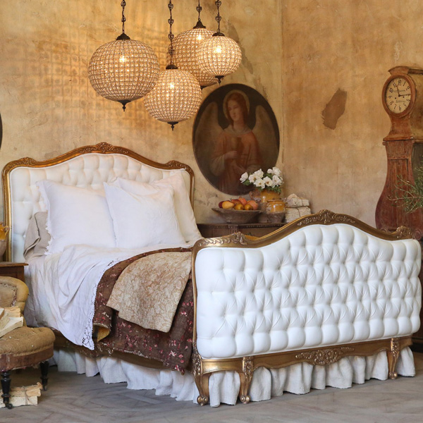 Antique gold bed