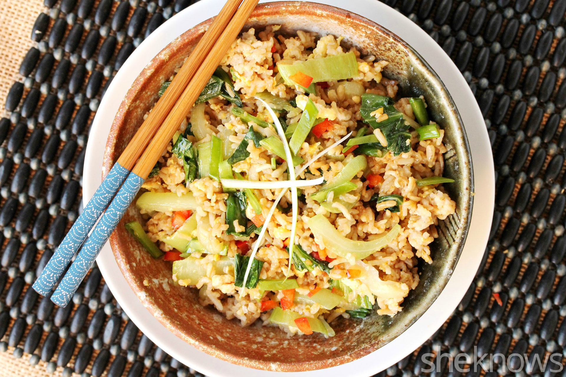 1 Bok choy and fried rice