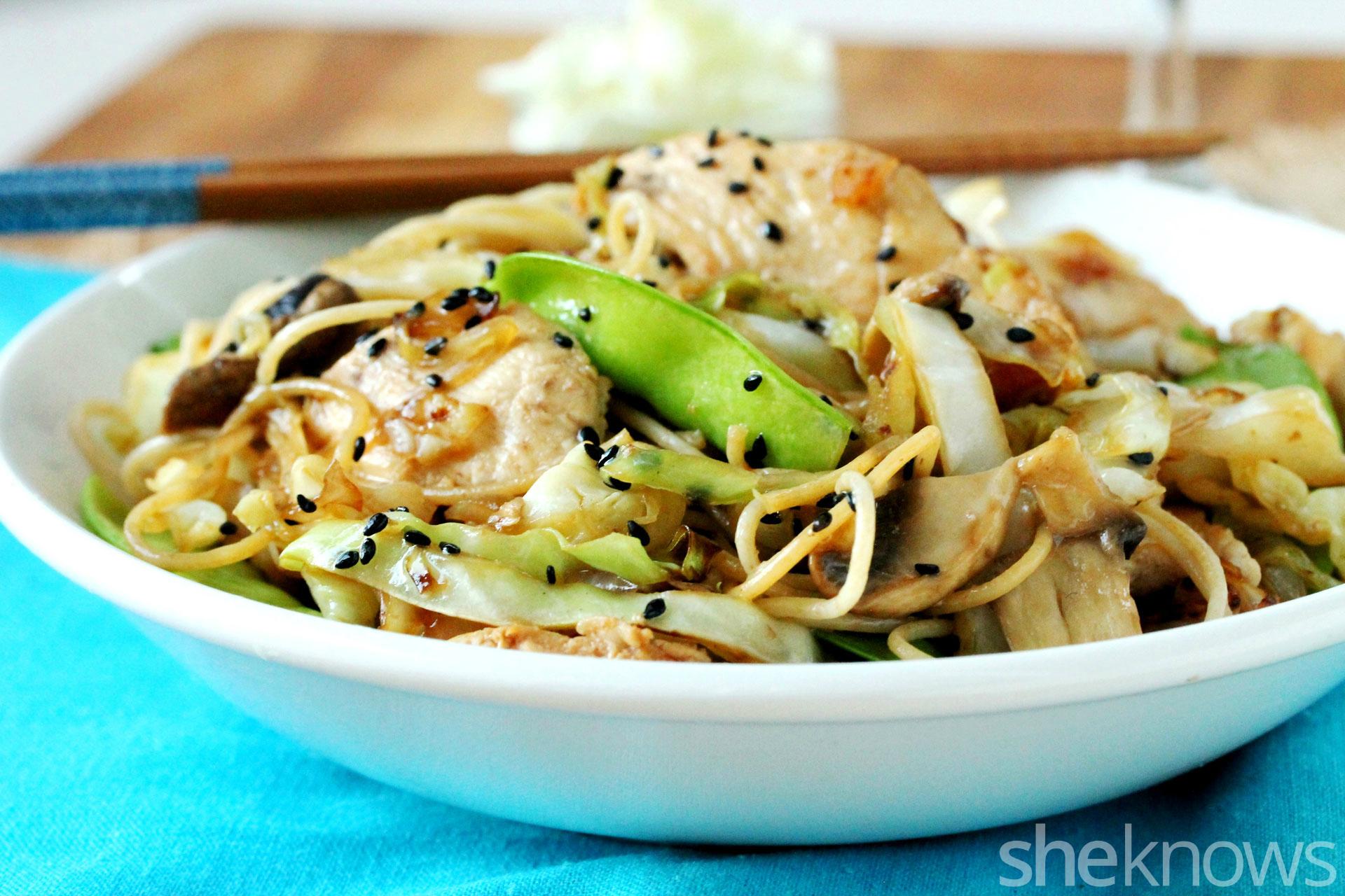Cabbage and wheat pasta veggie stir-fry