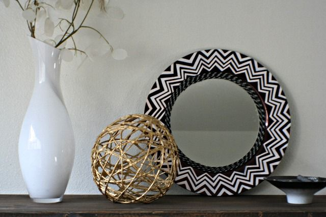 Black and white chevron mirror