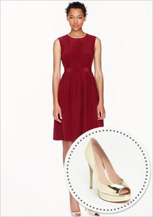Silk pintuck dress and peep toe pumps