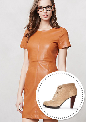 Shift dress and nude booties