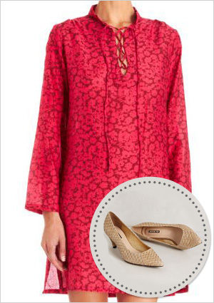 Silk tunic and fish scale leather heels