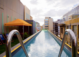 The rooftop pool at the Adelphi Hotel, Melbourne