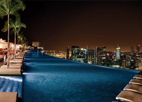 Pool on top of SkyPark Marina Bay Sands, Singapore