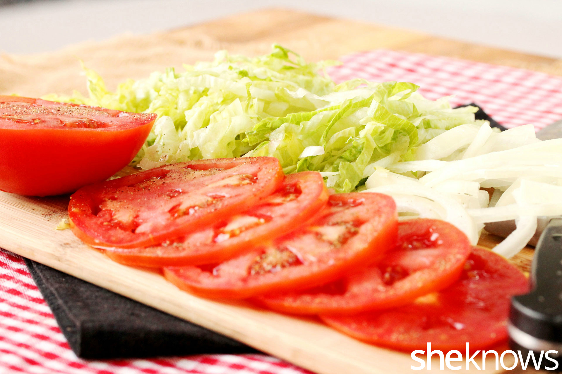 lettuce onion tomatoes for kebab