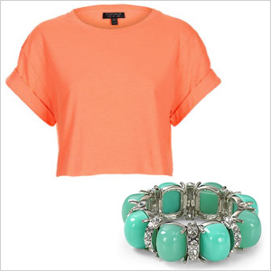 Coral cropped tee
