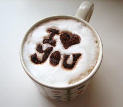 """I love you"" coffee stencil"