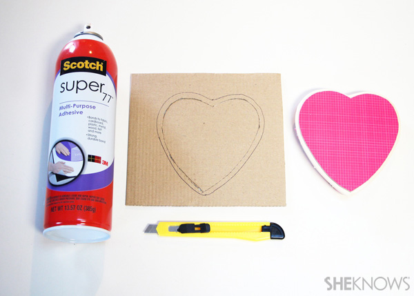 sugar cookie postcard for Valentine's Day: Step 9 Cut and affix hearts