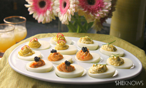 Smoked salmon and dill deviled eggs with caviar