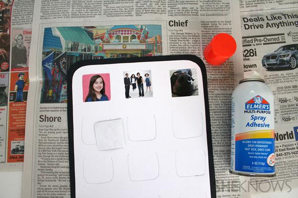 iDad Father's Day card step ten: glue the photos