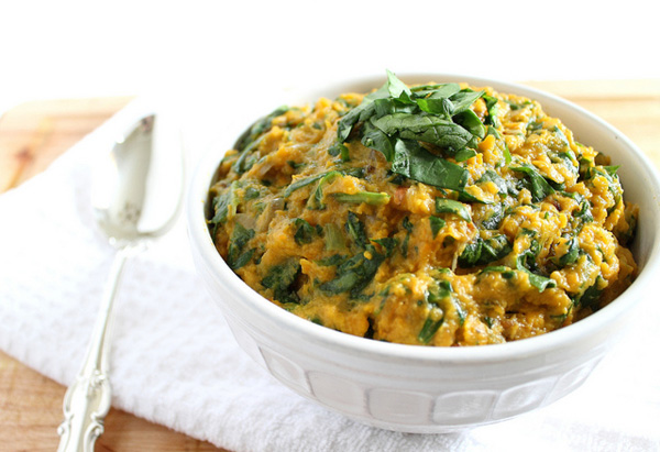 Goat cheese and spinach mashed sweet potatoes