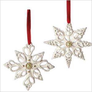 Intricate white snowflakes