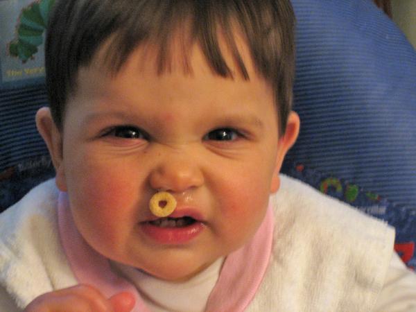Baby photo fails - Extra Cheerio stash