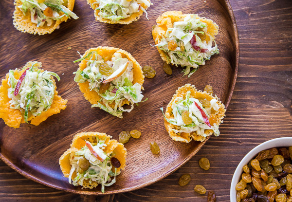 Brussels sprouts and apple slaw in cheddar cheese cups