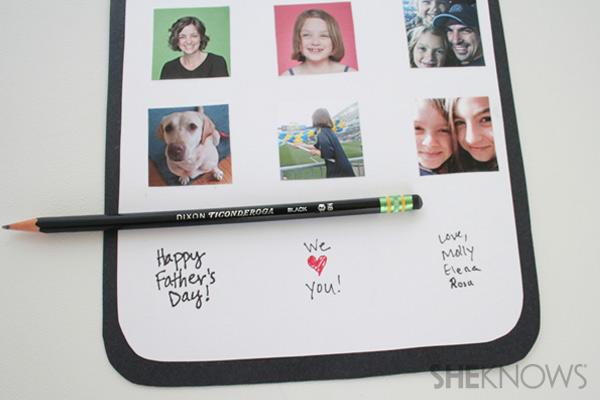 iDad Father's Day card step twelve: erase pencil marks